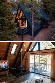 10 Magical Rustic A-Frame Cabin Homes - Rustic News: stove A Frame House Plans, A Frame Cabin, Cabin Homes, Log Homes, Cabin In The Woods, Lakefront Property, Rustic Design, Future House, Sweet Home