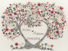 Love Blossoms Cross Stitch Kit - £28.50 on Past Impressions. | A blossoming tree that stands as testament to a loving couple, this cross stitch kit by Bothy Threads is both a quirky and wholesome romantic expression.