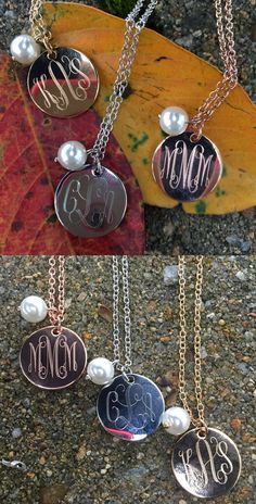 Monogrammed Classic Pearl Charm Necklace   Marleylilly.com