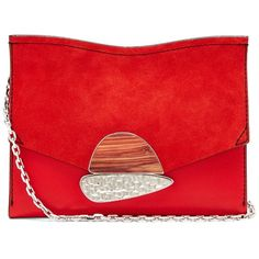 Proenza Schouler Curl small suede and leather clutch ($1,110) ❤ liked on Polyvore featuring bags, handbags, clutches, red, special occasion clutches, red evening purse, red leather handbags, red clutches and red suede handbag