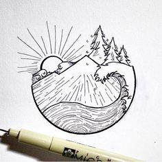 Coffee Tree Logo Mugs Trendy Ideas Bild Tattoos, New Tattoos, Small Tattoos, Pencil Art Drawings, Easy Drawings, Art Sketches, Muster Tattoos, Tumblr Art, Mountain Tattoo