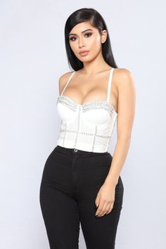 88bcd2375 Yeva Rhinestone Bustier - White. Tank Tops, Crop Tops, Camisole Top,  Bellydance, Fashion, Girl Outfits ...