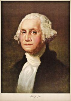 "Wonderful ""George Washington"" Color Lithograph of 1932. 1932, Color Lithograph of George Washington, After the Painting by Gilbert Stuart, Edwards & Deutsh Litho Co., Chicago, Illinois, Never Folded,"