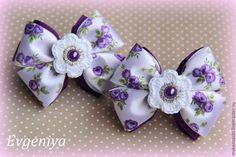 """Купить Бантики для волос """"Сиреневые мечты"""" - фиолетовый, цветочный, бантики для волос, американские бантики"""