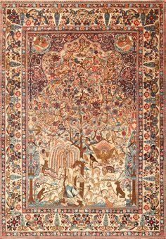 Beautiful Antique Persian Kerman Rug by Master Aboul Ghasem Kermani 49006