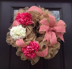 Monogrammed Wreath Initial Wreath Deco Mesh by JadieAcresFarm