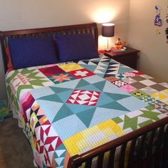 This is where my@#modernbuildingblocks quilt has been living the last month and it makes me smile every time I tuck my son in at night! #showmethemoda #modabuildingblocks