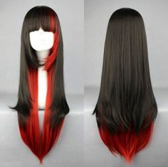 Hot Sell Long Charm Lolita Red Black Mixed Straight Anime Cosplay Wig | eBay