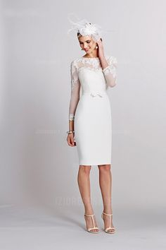 Sheath/Column High Neck Knee-length Chiffon Wedding Dress