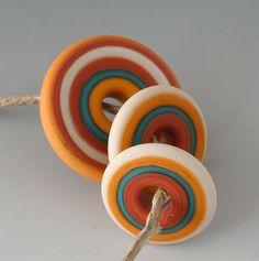 Southwest Discs  3 Handmade Lampwork Beads  Butternut by outwest, $12.00