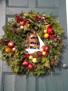 Wreath on the Front door of King Caesar House, Duxbury MA