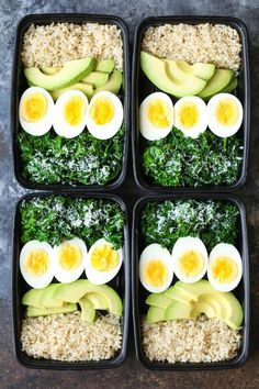 Avocado and Egg Breakfast Meal Prep - Jump start your mornings with the healthiest, filling breakfast ever! Loaded with brown rice, avocado, eggs and kale. healthy food Avocado and Egg Breakfast Meal Prep Paleo Meal Prep, Lunch Meal Prep, Paleo Diet, High Protein Meal Prep, Nutrition Diet, Nutrition Guide, Sports Nutrition, Keto Meal, Lunch Recipes