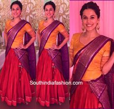Tapsee Pannu in Gaurang Shah half saree photo