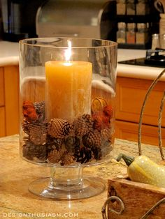 Autumn Warmth In Your Kitchen - Candles & Pinecones