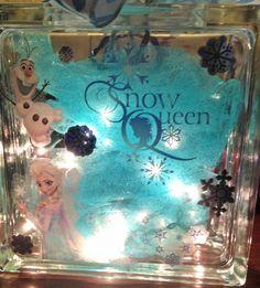 Frozen Lighted Glass Block Night Light by HollySherrysWreaths
