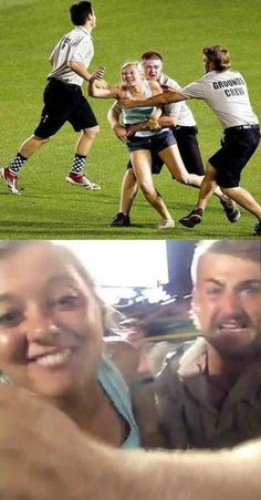 "12 Funniest ""Selfies"" - Oddee.com A girl took an amazing selfie while getting tackled by security as she sprinted through a baseball game. The girl posted a vine of herself running onto the field during the College World Series and ended up with what is possibly the best selfie ever."