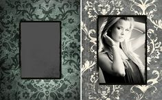 """BEFORE & AFTER using Madison Avenue Portrait Template 06 at: www.photobacks.com/packages/madison Replaced background of template with Madison Digital Backdrop 12 in package, then flipped and inverted it. Applied """"Cream & Black"""" Photobacks Action to image (www.photobacks.com/actions) and added photo to template. Enlarged frame, texture and photo layers together...then erased some texture and voila! See LIVE project demonstrations at our FREE webinars! Register at: www.photobacks.com/webinars"""