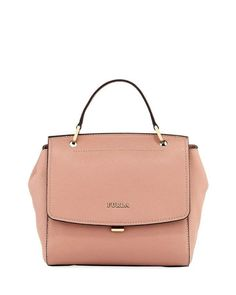 Furla Anita Small Leather Satchel Bag, Light Pink