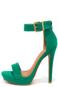 Sexy Suede-y Jade Green Ankle Strap Heels at Lulus.com!