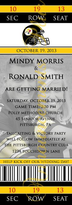 Football Theme Wedding Invitation by AnnouncementsPlus, $15.00 (any team or sport available)