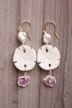 Sandollar Pearl Earrings Summer Beach Earrings Handmade Wire