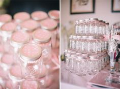 cover mason jars with pink polka dot cupcake liners / baby girl shower ideas