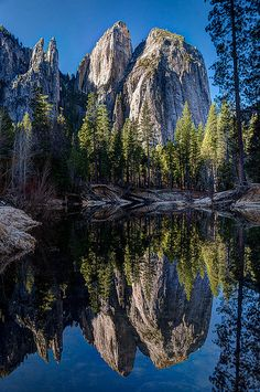 Yosemite Cathedral Rocks and Spires