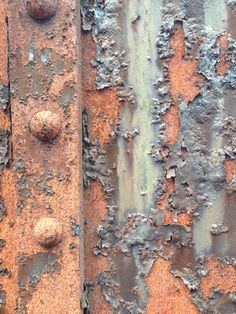Rust with flaky paint.