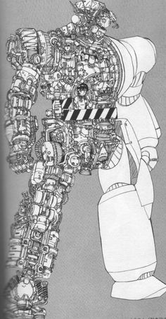 battlesuit cutaway. 'RX Battle Suit' from the original 'Gunbuster' anime. Hard to believe the show is 20+ years old now!