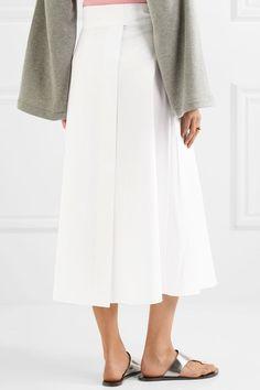 Tibi - Cotton-poplin Wrap Midi Skirt - White - US