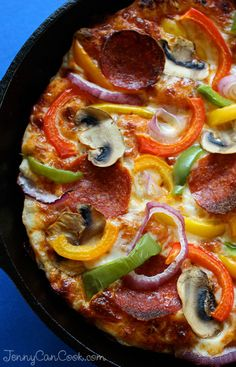 Pan Pizza recipe from Jenny Jones (JennyCanCook.com) - Foolproof pan pizza with an easy no-knead crust and healthy toppings. So easy! Crazy good!!