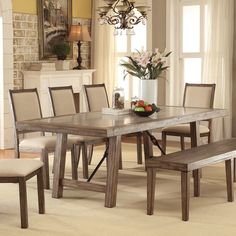 Furniture of America Bailey Rustic Weathered Elm Stone Top Dining Table (Weathered Elm), Brown Oak
