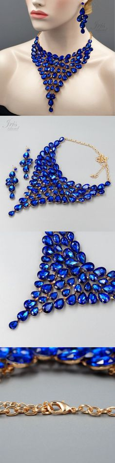 Jewelry Sets 50692: Rose Gold Plated Sapphire Blue Crystal Necklace Earrings Jewelry Set 04546 -> BUY IT NOW ONLY: $32.99 on eBay!