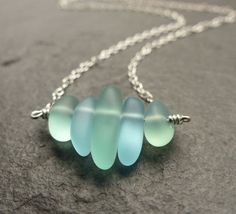 Sea glass necklace seafoam green blue petite por estherdobsonart