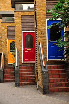 Greenwich, London, England - blue, red and yellow doors- Entrance Doors, Doorway, Garage Doors, Front Doors, Cool Doors, Unique Doors, Door Knockers, Door Knobs, Portal