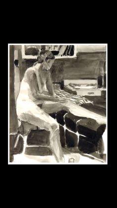 "Richard Diebenkorn - "" Seated Nude "", 1964 - Ink wash drawing - 17 x 14 in."