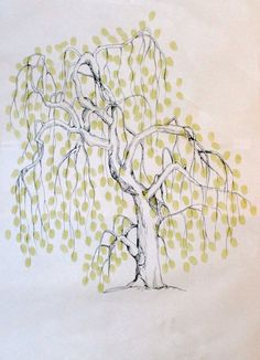 Guest book fingerprint willow tree, hand drawn, size XLARGE willow (includes drawing, 2 ink pads). $127.00, via Etsy.