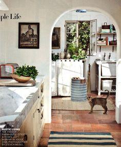 white kitchen spanish tile