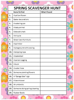 What do you think about when you think of spring? Flowers, playgrounds and more? Here is a free Spring Scavenger Hunt to play as a family.