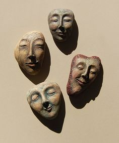 Serenity Stones - paper clay faces over stones, painted and accented with color pencil Sculptures Céramiques, Sculpture Art, Clay Projects, Clay Crafts, Clay Faces, Paperclay, Ceramic Clay, Pebble Art, Clay Creations