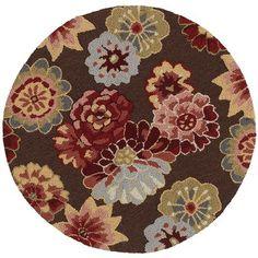 Pier One: Brown Raised Floral Round Rug