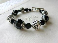 Sterling Silver Beads Bracelet Black Swarovski Crystals Bracelet by CharlotteJewelryBox