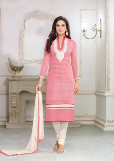 Pink Chanderi Cotton Churidar Suit 58708