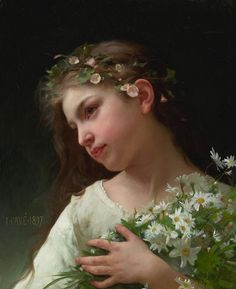 Girl with a bouquet of daisies 1897, by Jules-Cyrille Cavé