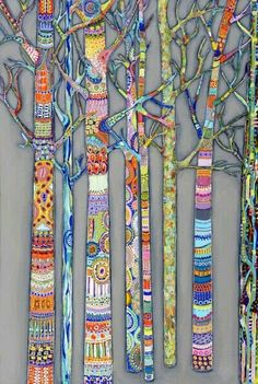 Just think of these trees as being an art quilt. vwr clair letton: Fantastic Trees - collaboration project maybe - individual trees displayed together - winter or spring Zentangle piece? Middle School Art, Art School, School Auction, Art And Illustration, Illustrations, Arte Elemental, Classe D'art, Arte Fashion, Zentangle Patterns
