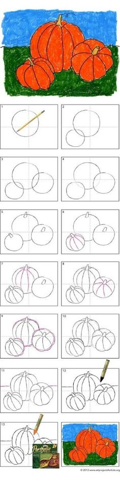 Art Projects for Kids: How to Draw a Pumpkin Tutorial by jami
