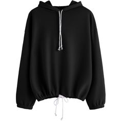 SheIn(sheinside) Black Drop Shoulder Drawstring Hooded Sweatshirt ($17) ❤ liked on Polyvore featuring tops, hoodies, black, long sleeve hoodies, pullover hoodie, hooded pullover sweatshirt, hooded pullover and hooded sweatshirt
