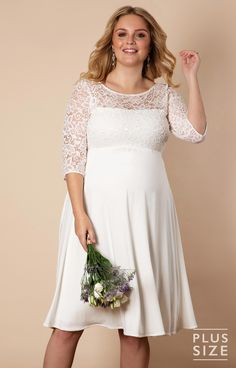 ec1901661d078 Lucia Plus Size Maternity Wedding Dress Short Ivory by Tiffany Rose  Pregnant Wedding Dress, Maternity