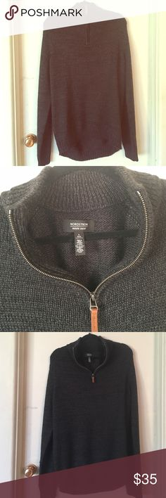 Men's Nordstrom Sweater Men's Nordstrom sweater is made from 45% acrylic, 30% polyester, 25% wool and size Large Tall. This sweater is a partial zip and is very warm for these October months. Nordstrom Sweaters Zip Up