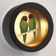 Sally-Ann Johns - Green Parrots, Pastel and Dutch Metal on Board, 31cm dia.